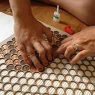 Copper Penny Tile Jig for lining up pennies for a tile floor