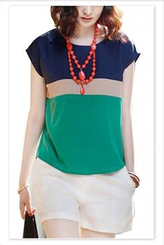 Woman Casual Loose Colors Collision Short Sleeve T-Shirt Tops Blouse-Green Large #VOBAGA #Blouse #Casual