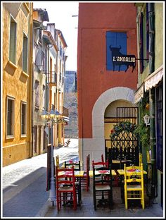 Rita Crane Photography:  Collioure / France / buildings / restaurant / street / bicycle / L'Andalou, Collioure (French Catalonia)