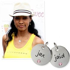 Garcelle Beauvais-Nilon has her twin sons' names engraved on Posh Mommy's sterling silver double disc necklace