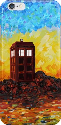 Time travel Phone booth in the Twilight zone art painting iPhone Cases #Accessories #Case #CellPhone #iPhonecase #hardcase  #tardis #doctorwho #painting #art #starrynight #autumn #twilight #phonebooth #phonebox
