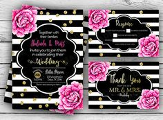 KATE SPADE Inspired WEDDING Set, Invitation, rsvp, Thank you card, Custom Invites, Printable file, Stationery