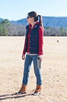 preppy, bean boots, jcrew vest, waffle t-shirt, country hills