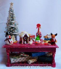 Miniature Christmas Fantasy  table for dollhouse. $75.00, via Etsy.