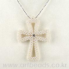 Beaded Cross PATTERN pearl