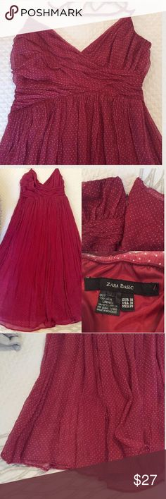 """Zara basic silk halter dress Beautiful burgundy with white polka dotted pleated dress by Zara. 100% silk, fully lined, excellent used condition! 34"""" bust, 28"""" waist, but there is some stretch. 38"""" overall. Sized a M, but fits better as a small. Side zip, ties around neck. *the only imperfection I could find is loose thread at the torso; nothing is coming unraveled, it's not even noticeable. It was there when I purchased the dress* Zara Dresses Midi"""
