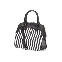 Striped Dome Satchel ($30) ❤ liked on Polyvore featuring bags, handbags, real leather purses, genuine leather purse, zipper purse, white leather purse and stripe handbag