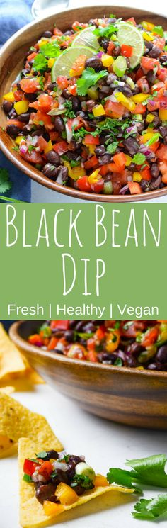 This simple recipe for Black Bean Dip uses fresh vegetables and convenience items for a fresh, spicy flavor that's great with tortilla chips. Feeds a crowd! #healthysnacks