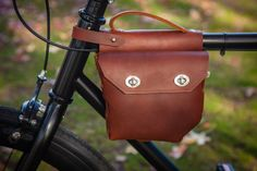 Super cool handmade leather bike bag.