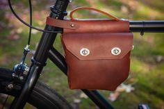 Super cool handmade leather bike bag.