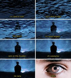 """Merlin - what I like about the intro is that further into the seasons, this part changes to say """"rests on the shoulders of a young man."""" Notice how it says man instead of boy, so Merlin is growing up. Makes me so emotional!!"""