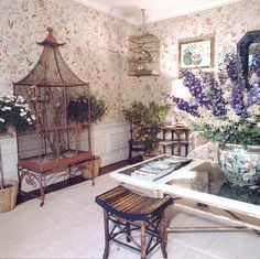 Lee Radziwill- Canaries fill an elaborate cage in the living room of Radziwill's English estate.