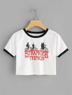 c938443ec87 Stranger Things Print Crop Tee Shirt Description Occasion  Weekend Casual  Letter Color  White Black Neckline  Round Neck Fabric  Fabric has some  stretch Fit ...