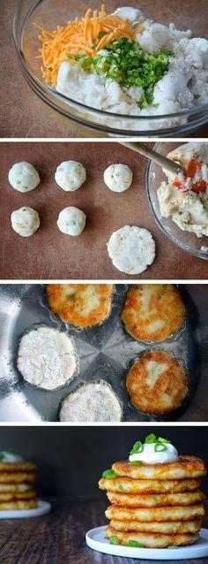 Cheesy Leftover Mashed Potato Pancakes from justataste.com #recipe #thanksgiving