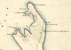 FRANCIS GREENWAY map showing The Macquarie Lighthouse designed by convict Fancis Greenway