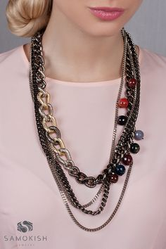 Black chain necklace with agate stones