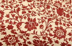 Juxtapose a floral pattern with fall and winter weather for hopeful, forward thinking designs. Use a deep-toned fabric for this design trick to avoid designs that feel out-of-season. Drapery Fabric, Drapes Curtains, Linen Fabric, Red Interiors, Colorful Interiors, Colorful Interior Design, Reupholster Furniture, Design Trends, Fall Decor