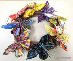 recycled butterfly wreath, christmas decorations, crafts, seasonal holiday decor, wreaths
