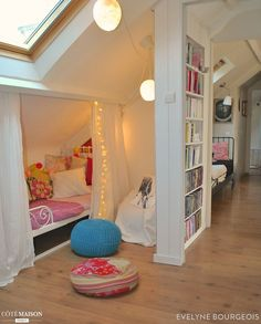 girls loft bed with desk . girls loft bed with slide Attic Bedroom Kids, Attic Bedrooms, Kids Bedroom Furniture, Bedroom Loft, Girls Bedroom, Bedroom Decor, Teenage Bedrooms, Rustic Furniture, Bedroom Ideas