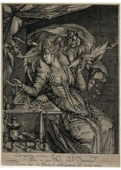 Vanitas with Death and a maiden  A richly attired woman at her toilet-table; behind her stands Death as a female bride, holding an hour-glass; on the table is a jewellery box and a bag of coins.  Engraving made by Andries Jacobsz. Stock after Jacob de Gheyn II and published by Hendrik Hondius I, Dutch, 1610-1620 (circa).