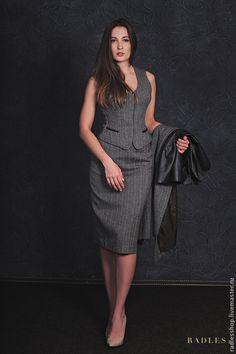 Купить Костюм женский деловой, костюм женский из твида, костюм с юбкой шерсть - серый, твид