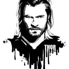 Thor in black and white comic-style portrait. One of a series: Avengers in Ink. Avengers in Ink: Thor Marvel Art, Marvel Heroes, Marvel Comics, Thor Drawing, Art Sketches, Art Drawings, Dibujos Pin Up, Avengers, Marvel Drawings