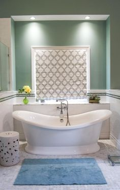 Love the colour of this room and the Marlborough bath looks stunning framed by the alcove.