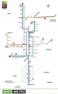 The locals of Medellin are very proud to have the only Metro system in Colombia. Transport Map, Public Transport, Map Metro, Safe Journey, Subway Map, Direct Mail, San Antonio, Planer, South America