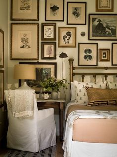 """Picture frame gallery done well. It covers the entire wall. """"This stunning Master Bedroom makeover features a gorgeous view, a botanical gallery wall - even a Secret Garden."""" via Pure Style Home Home Bedroom, Bedroom Decor, Bedroom Artwork, Cottage Bedrooms, Rustic Bedrooms, Wall Decor, Bedroom Inspo, Bedroom Inspiration, Bedroom Wall"""