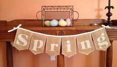 SPRING Spring time burlap bunting banner with by GramsCozyCorner