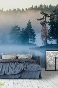 Misty Lake Wall Mural / Wallpaper Landscapes - Wohndeko - Pictures on Wall ideas Photo Wallpaper, Cool Wallpaper, Forest Wallpaper, Wallpaper Designs, Wall Murals Bedroom, Forest Mural, Misty Forest, Landscape Walls, Modern Wall Decor