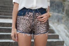 DIY: sequin embellished denim shorts