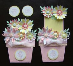 Stampin Up Handmade Flower Pot Card for Birthday Easter Spring Mother's Day | eBay