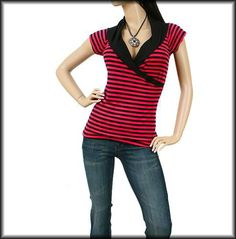 New Pink Black Stripe Crossover Lapel V Neck Collar Casual Top Blouse Small SM | eBay