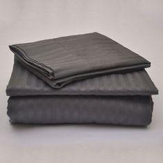 Duvet Set 3Pcs / Sheet Set 4Pcs Dark Grey Stripe 100%Egyptian 1000Tc Usa Size