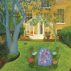 The Conservatory by Melissa Launay, Fine Art Greeting Card, Gouache on Paper, A set table in a summer garden by the conservatory Greeting Cards Uk, Brighton Uk, Brown Envelopes, Summer Landscape, Summer Garden, Conservatory, Garden Art, Art Images, Home Art