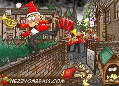 The most dangerous job in the world - christmas collector for a brass band!!!  See more brass cartoons by Brass Band World Magazine cartoonist nezzy at http://nezzyonbrass.com
