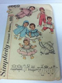 """3669 S Vintage 50s Pattern Clothes Dolls 25"""" Betsy Wetsy Doll Tiny Tears"""