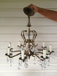 2 Vintage Antique 4 Arm Brass Crystal Made In Spain Chandeliers Ebay Master Bedroom Pinterest Antiques And