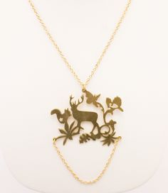 Deer with Squirrel Brass Necklace