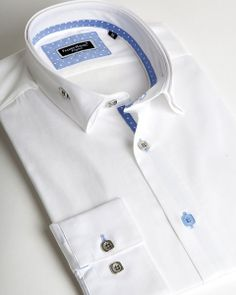 Franck Michel shirt | White reverse collar shirt with light blue contrasting colors | fashion-shirts.com