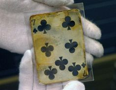 This seven-of-clubs rested almost 2.5 miles below the surface of the Atlantic, before being recovered.