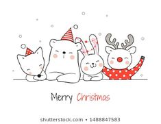 Find Draw Illustration Cute Animal Christmas Day stock images in HD and millions of other royalty-free stock photos, illustrations and vectors in the Shutterstock collection. Christmas Doodles, Christmas Drawing, Christmas Paintings, Christmas Art, Illustration Mignonne, Illustration Noel, Christmas Illustration, Cartoon Style, Karten Diy
