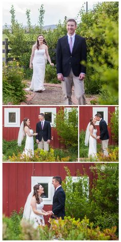 Bride and groom first look at their outdoor spring garden wedding at with red barn at Denver Botanic Gardens Chatfield Farms. - April O'Hare Photography http://www.apriloharephotography.com