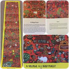 This activity book in the Bengal Patua style of scroll painting depicts the everyday world of the Santhal people, who are amongst India's largest indigenous communities. Fold by colourful fold, the scroll opens out into a gorgeous panorama of village life, teeming with people, animals and activities. Accompanying text—along with careful pointers and questions—encourages the child to discover details, make connections, and set off on an exploration of village life.