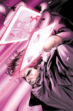 Gambit is a charming master thief turned X-Man. He possesses the mutant ability to charge inanimate objects with kinetic energy, causing them to explode, he is also extremely agile because of his powers. Gambit's signature move is throwing charged playing cards.