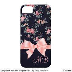 Pinke Schleife und elegante Vintage-Rosen auf iPhone 5 Etui