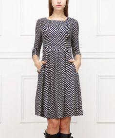 Look at this #zulilyfind! Black & White Pixelated Chevron A-Line Dress #zulilyfinds
