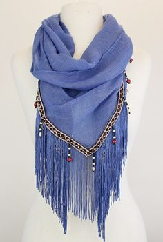 Channel you're inner international reporter Tina Fey look in this lightweight semi-sheer scarf that features an embroidered trim with delicate beading and fringe hem. Tina Fey, Lightweight Scarf, Shawls And Wraps, Tango, Womens Scarves, Love Fashion, Blue Denim, Whiskey, Channel