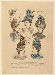 1888 Fashion illustration depicting ladies' hats, from Journal des Demoiselles Paul Deferneville (French, active 19th century)